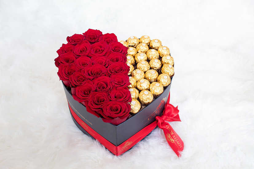 Large Heart Half Red Natural Roses Half Chocolates/ONLY IN MIAMI