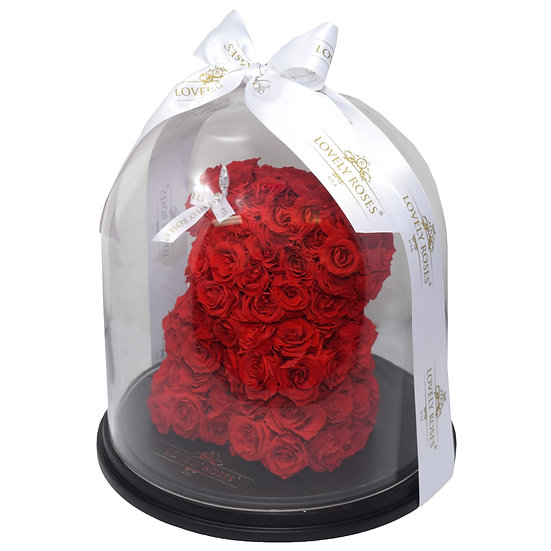 Red Teddy Bear Preserved Roses