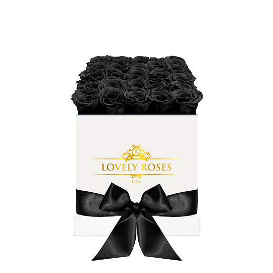 Large Square Black Preserved Roses