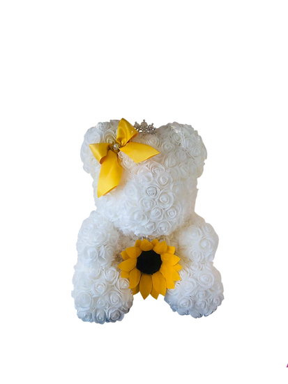 Lovely Teddy Bear with Preserved Sunflower in the Middle (40 cm)