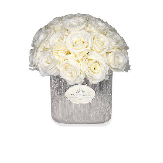 Mini Deluxe Preserved Roses White/Silver