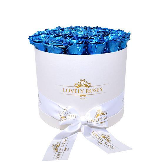 Large Round Metallic Blue Preserved Roses