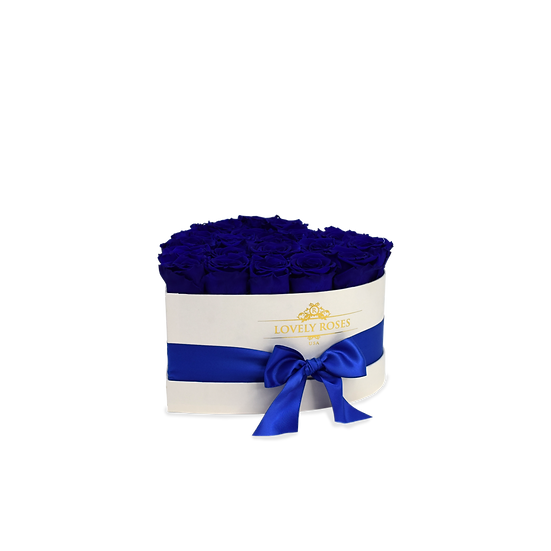 Small White Preserved Royal Blue Roses