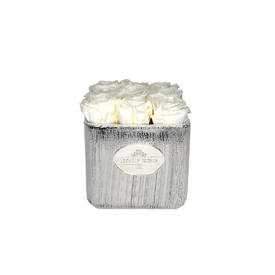 Logo Small Square White Preserved Roses
