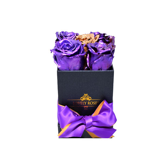 Small Square Purple Preserved Roses (Gold Rose In The Middle)