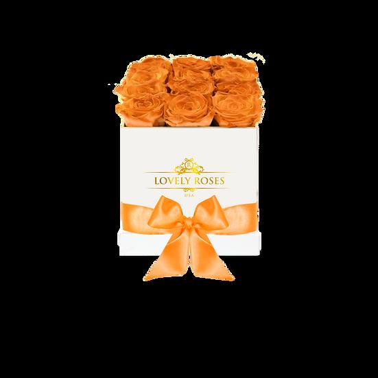 Medium Square Orange Preserved Roses