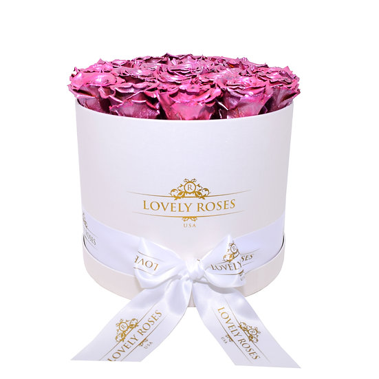 Large Round Metallic Pink Preserved Roses