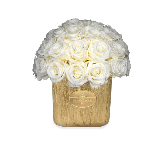 Mini Deluxe Preserved Roses White/Gold