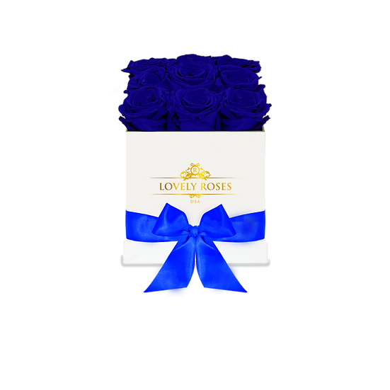 Medium Square Royal Blue Preserved Roses