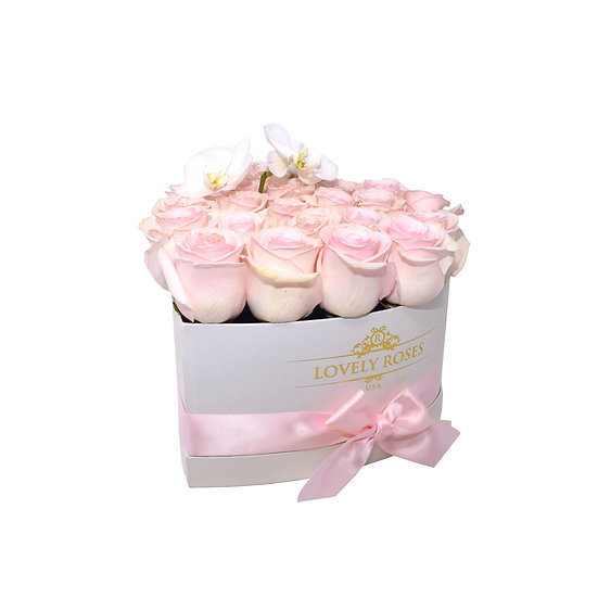 Valentine's Special Small Heart Box Pink Natural Roses/Only In Miami