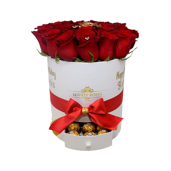Drawer Box Natural Red Roses/ONLY IN MIAMI