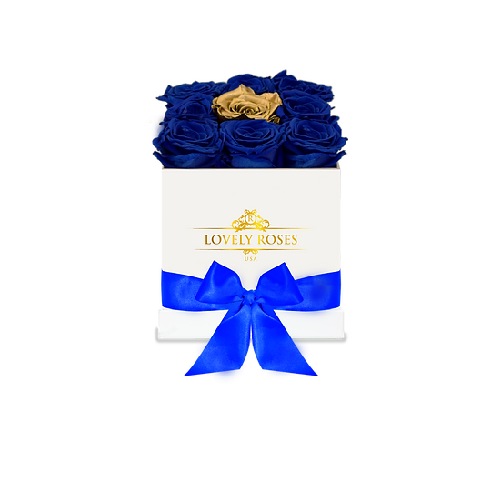 Customized Medium Square Blue Preserved Roses (Gold Rose in the middle)