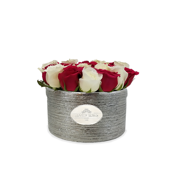Large Round Red and White Natural Roses/ONLY IN MIAMI