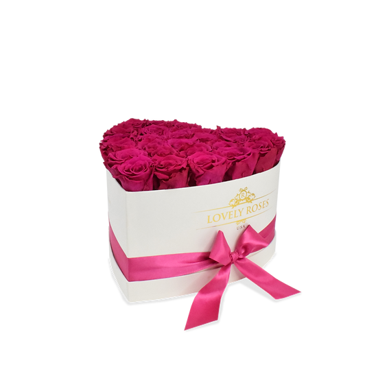Medium Heart Collection Preserved Magenta Roses