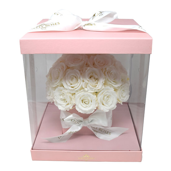 Pink Clear Box - White Preserved Roses