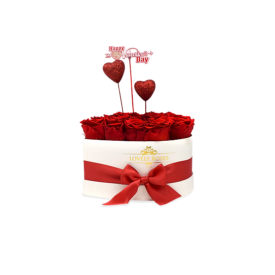 Small Heart Preserved Red Roses