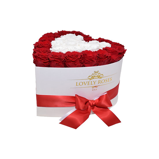 Medium Heart Collection Red and White Preserved Roses
