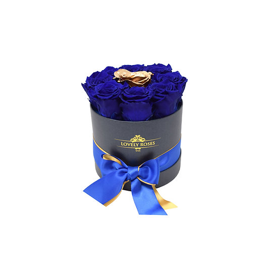Small Round Royal Blue Preserved Roses (Gold Rose in the middle)