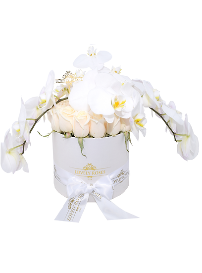 Medium Round White Natural Roses/DELIVERY ONLY IN MIAMI