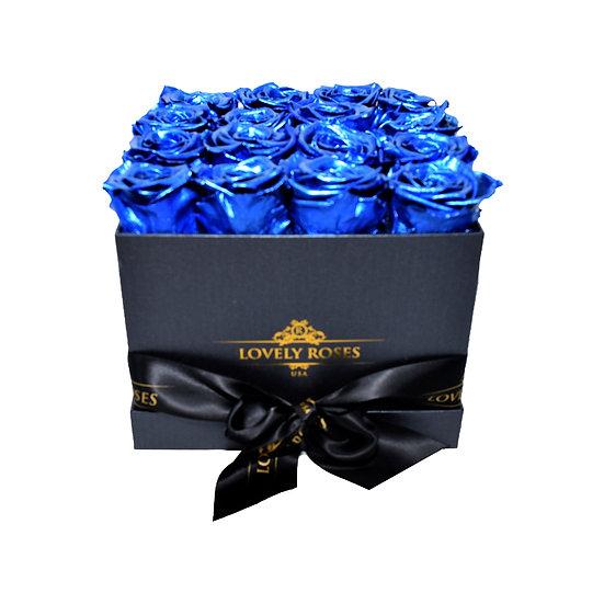 Medium Square Metallic Blue Preserved Roses