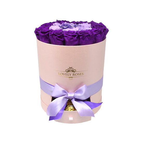 Drawer Box Purple Variation Preserved Roses