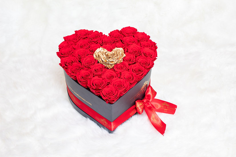 Large Heart For Victoria Red Preserved Roses