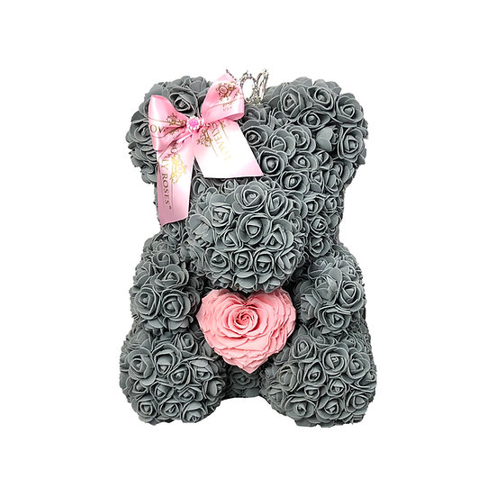 Lovely Teddy Bear with Preserved Roses in the Middle (40 cm)