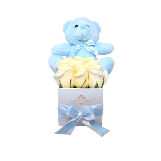 Small Teddy Bear White Natural Roses / ONLY IN MIAMI