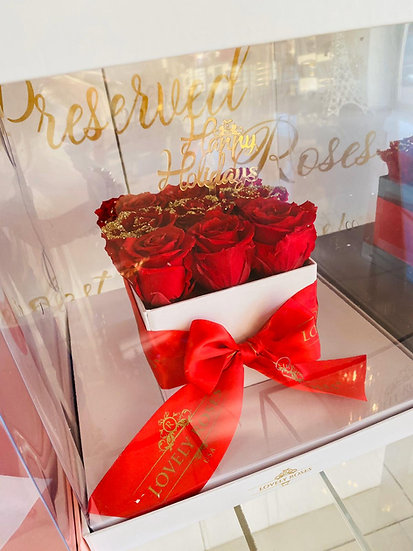 Clear Medium Square Preserved Roses