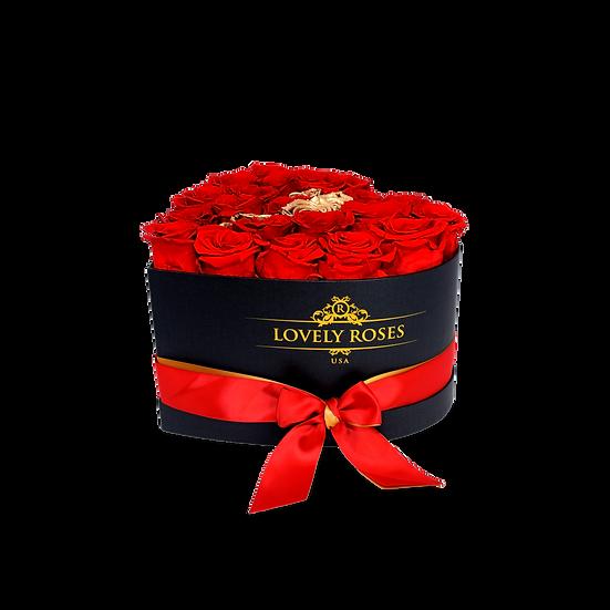 Medium Heart Preserved Gold & Red Roses