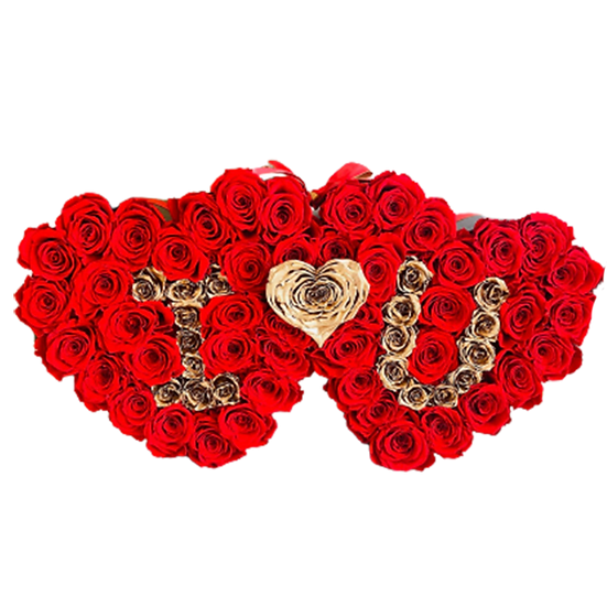 Double Heart - Medium with letters - Preserved Roses