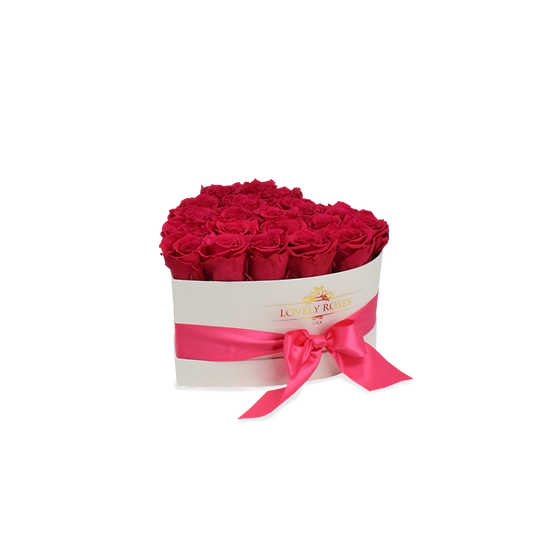 Small Heart Collection Preserved Fuchsia Roses