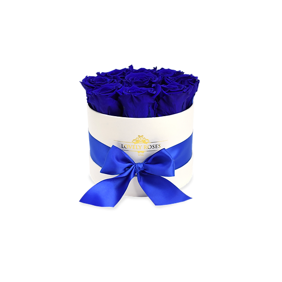 Small Round Preserved Royal Blue Roses