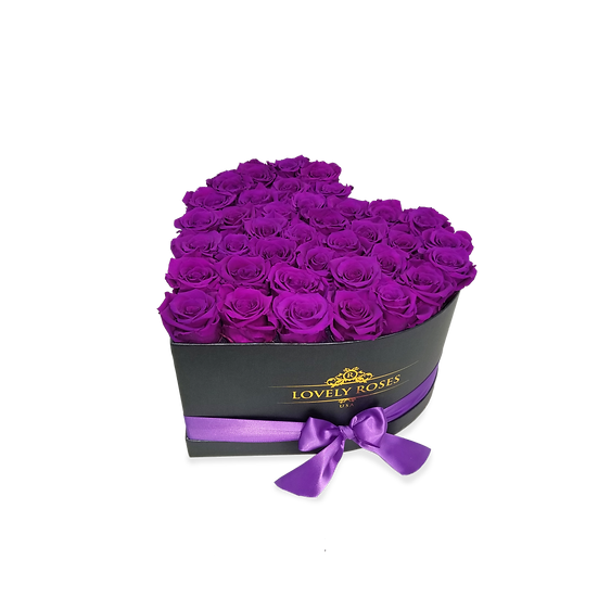Large Heart Preserved Purple Roses
