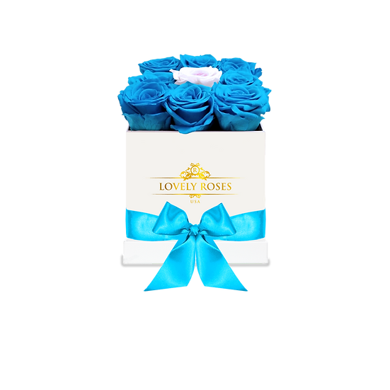 Medium Square Blue Preserved Roses (White Rose in the middle)