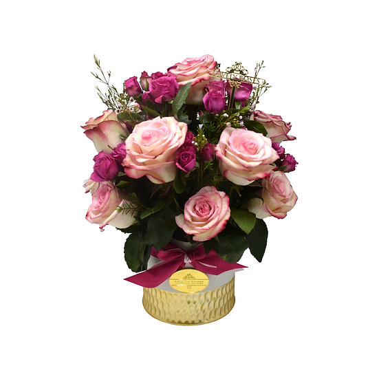 Mother's Day Special Medium Vase Pink Natural Roses/ONLY IN MIAMI