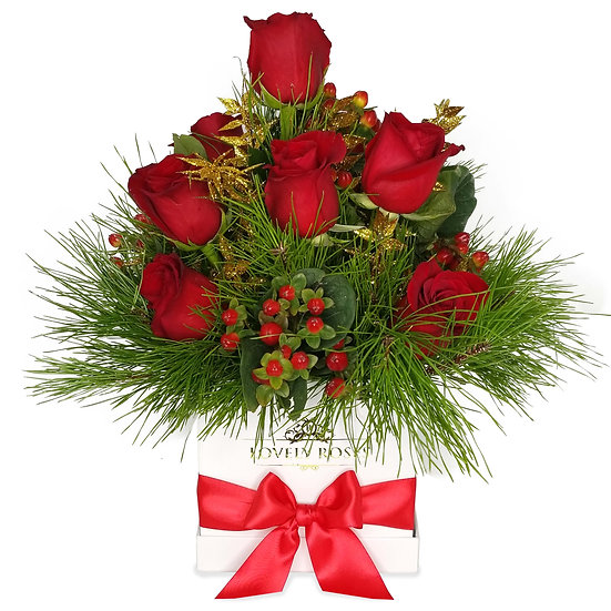 Christmas Red Natural Roses Arrangement/DELIVERY ONLY IN MIAMI