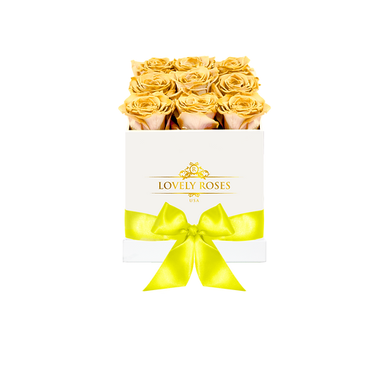 Medium Square Yellow Preserved Roses