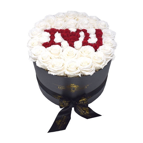 Valentine's Special Large Round White Preserved Roses