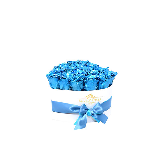 Small Heart Blue Metallic Preserved Roses