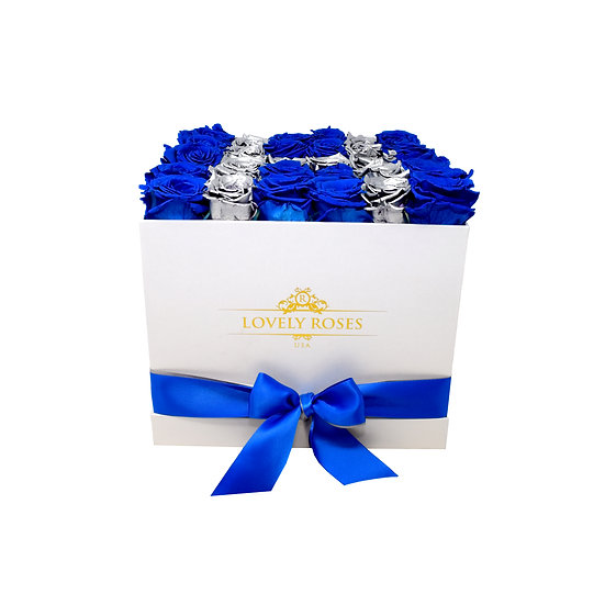 Customized Large Square Royal Blue Preserved Roses (Sample)