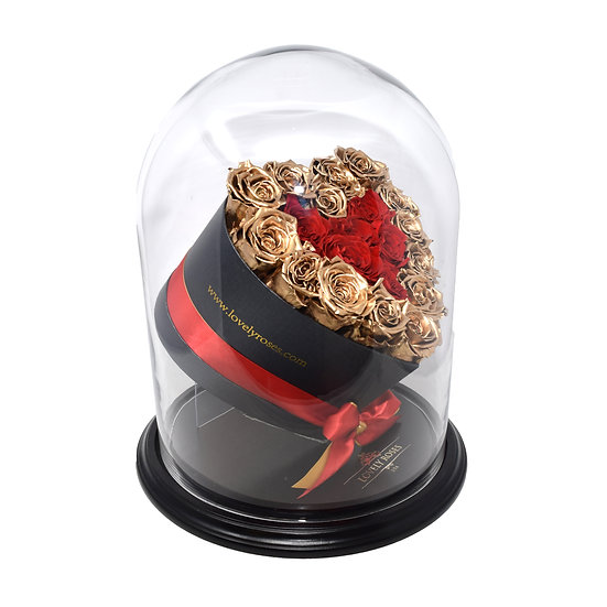 Crystal Dome Small Heart Gold & Red Preserved Roses