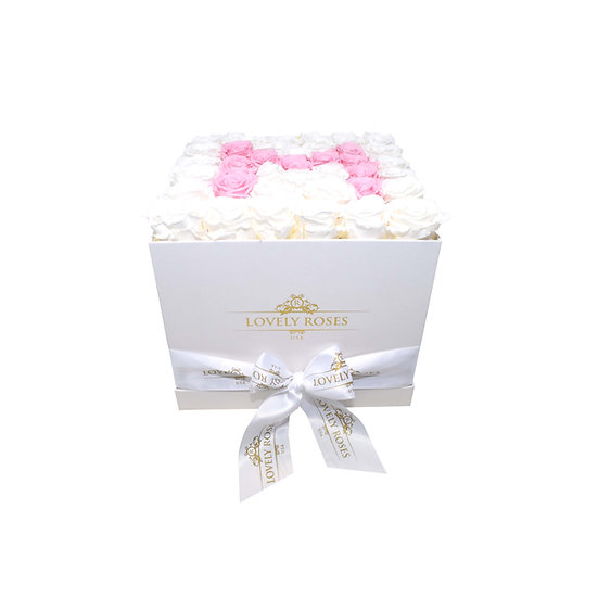 Large Square M White And Pink Preserved Roses