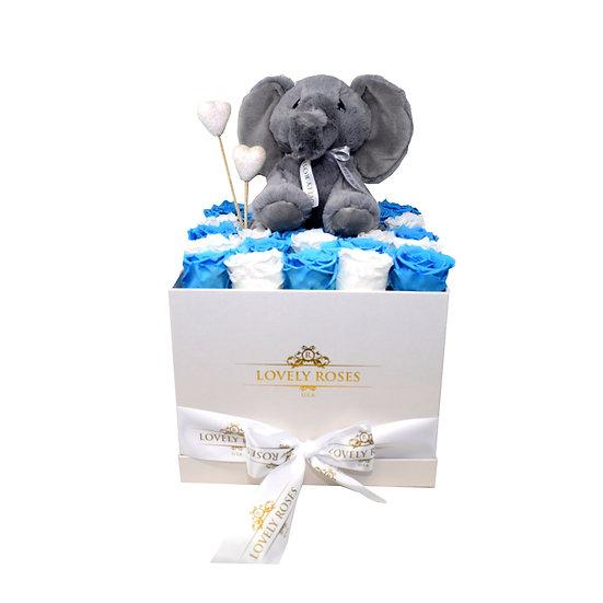 Elephant White & Blue Preserved Roses