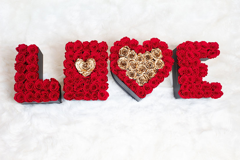 LOVE Sign Boxes Preserved Roses