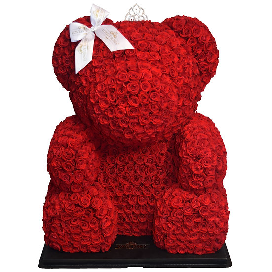 OUR INCREDIBLE WHOLE PRESERVED ROSES TEDDY BEAR 70CM