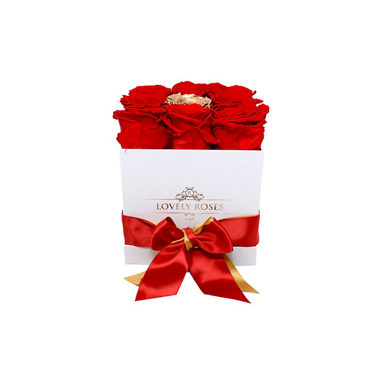 Medium Square Red Preserved Roses