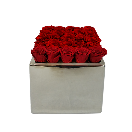 Large Square Red Preserved Roses