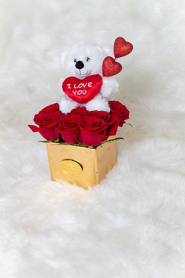 Small Teddy Bear Natural Red Roses ASSORTED COLORS/DELIVER IT ONLY IN MIAMI
