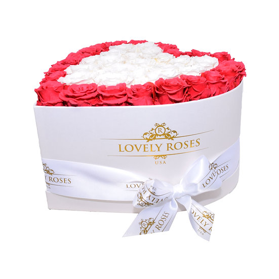 Large Heart Collection White & Coral Preserved Roses